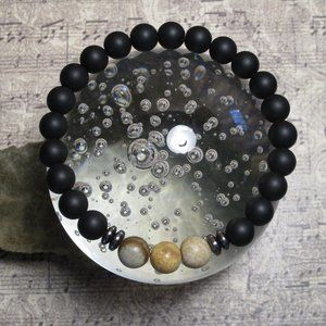 Picture Jasper & Blackstone Gemstone Bracelet